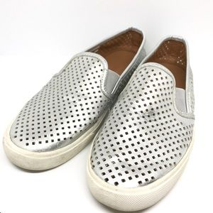 J CREW FACTORY SILVER LOAFERS